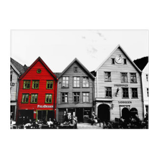 Bergen Norway Europe Black and White Acrylic Panel Acrylic Wall Art