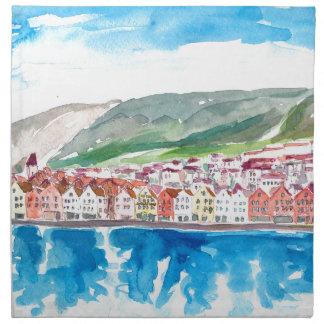 Bergen Norway Old Bryggen Harbour Seafront Napkin