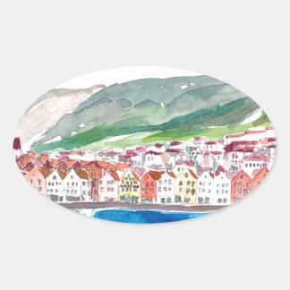 Bergen Norway Old Bryggen Harbour Seafront Oval Sticker