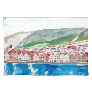 Bergen Norway Old Bryggen Harbour Seafront Placemat