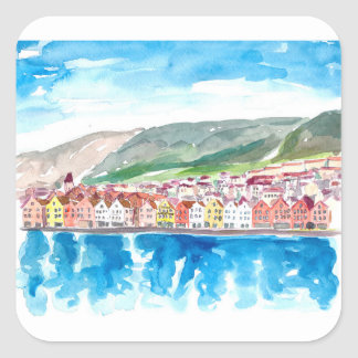 Bergen Norway Old Bryggen Harbour Seafront Square Sticker