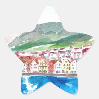 Bergen Norway Old Bryggen Harbour Seafront Star Sticker