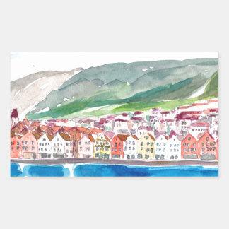 Bergen Norway Old Bryggen Harbour Seafront Sticker