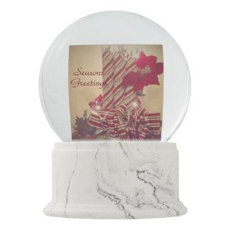 Beribboned Holiday Candle Snow Globe
