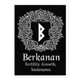 Berkanan Rune /Fertility / Black Version Postcard