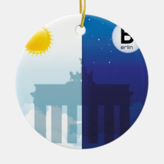 Berlin at day and night - Brandenburger gate Ceramic Ornament