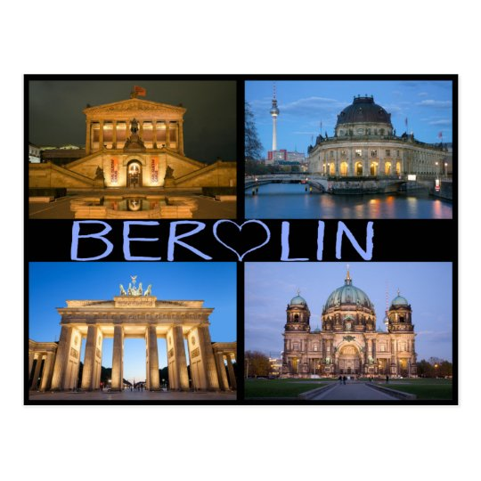 Berlin at night postcard