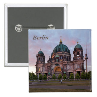 Berlin Cathedral with Television Tower and Lustgar 2 Inch Square Button