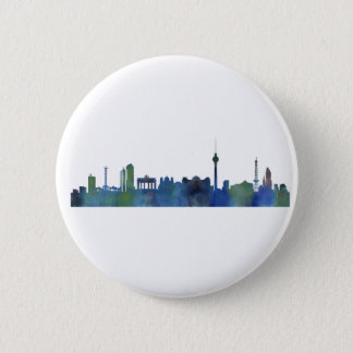 Berlin City Germany watercolor Skyline art 2 Inch Round Button