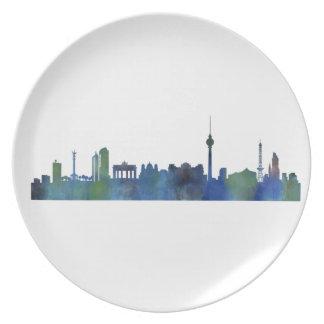 Berlin City Germany watercolor Skyline art Dinner Plate
