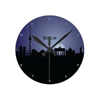 Berlin CityScape Night Silhouette Wall Clock