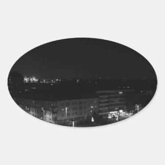 Berlin Germany - Concrete Cadillac Skyline. Oval Sticker