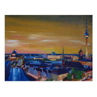 Berlin Germany Skyline at Dusk Postcard
