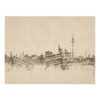 Berlin Germany Skyline Sheet Music Cityscape Poster