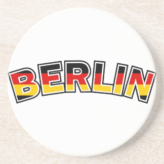 Berlin, Germany, text with Germany flag colors Coaster