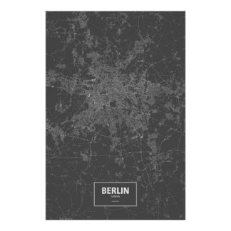 Berlin, Germany (white on black) Poster