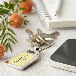 Berlin Heart Keyring, Germany Silver-Colored Rectangle Keychain