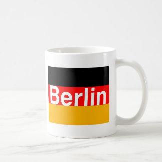 Berlin Logo in White on German Flag Coffee Mug
