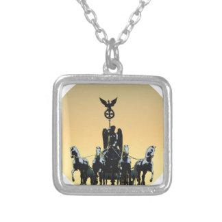 Berlin Quadriga Brandenburg Gate 002.1 rd Silver Plated Necklace