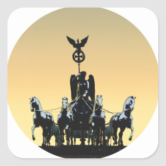 Berlin Quadriga Brandenburg Gate 002.1 rd Square Sticker