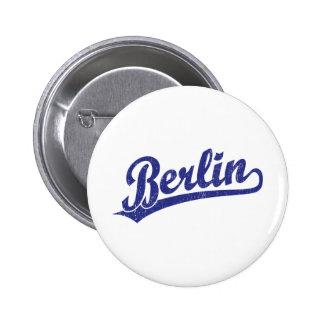 Berlin script logo in blue 2 inch round button