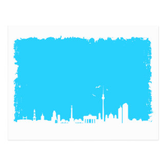 Berlin skyline color blue postcard
