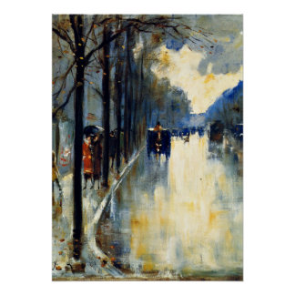 Berlin Street in Late Fall, vintage painting Poster