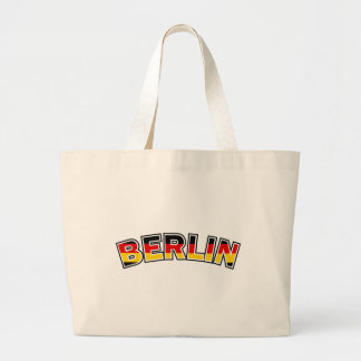 Berlin, text with Germany flag colors Large Tote Bag