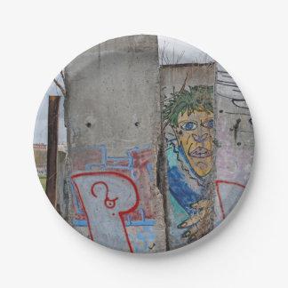 Berlin Wall graffiti art 7 Inch Paper Plate