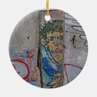 Berlin Wall graffiti art Round Ceramic Ornament
