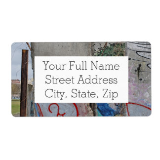 Berlin Wall graffiti art Shipping Label