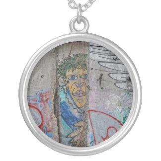 Berlin Wall graffiti art Silver Plated Necklace