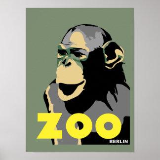 Berlin Zoo monkey retro vintage style Poster