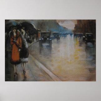 Berliner Straße im Regen Poster