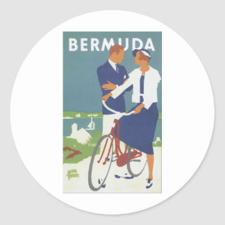 Bermuda Ad featuring a young sailing type couple Round Sticker