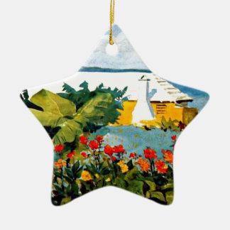 Bermuda - Flower Garden and Bungalow Ceramic Ornament