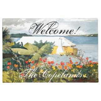 Bermuda Island Flowers Ocean Welcome Doormat