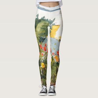 Bermuda Island Flowers Sea All Over Print Leggings