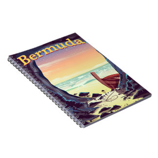 Bermuda Pirate Cave travel poster Notebook