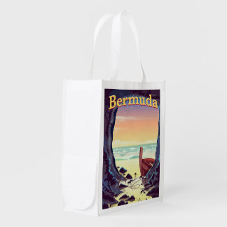 Bermuda Pirate Cave travel poster Reusable Grocery Bag