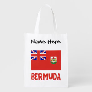 Bermudian Flag Bermuda with Name Reusable Grocery Bag