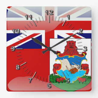 Bermudian glossy flag square wall clock