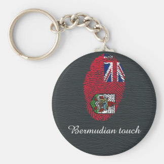 Bermudian touch fingerprint flag basic round button keychain