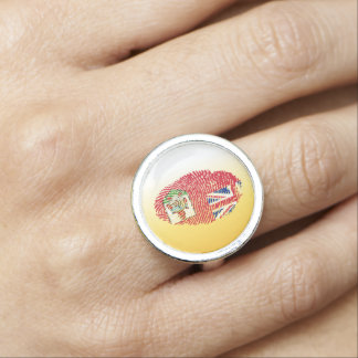 Bermudian touch fingerprint flag ring
