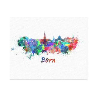 Bern skyline in watercolor canvas print