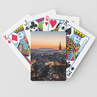 Bern Switzerland Night Skyline Bicycle Playing Cards