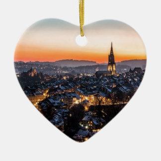 Bern Switzerland Night Skyline Ceramic Ornament
