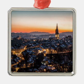Bern Switzerland Night Skyline Metal Ornament