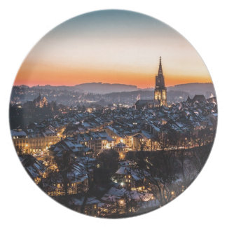 Bern Switzerland Night Skyline Plate