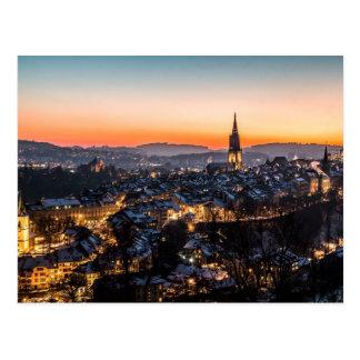 Bern Switzerland Night Skyline Postcard